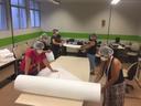 Equipe engajada na confecção de máscaras